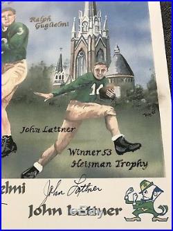 1953 NOTRE DAME JOHNNY LATTNER, HEAP, WORDEN Autographed SIGNED LITHOGRAPH COA