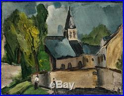 1958 Maurice Vlaminck Color Lithograph Notre-Dame Church Gallery Framed COA