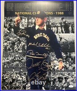 1988 NATIONAL CHAMPIONS 5x Signed 16x20 Photo Notre Dame Fighting Irish JSA COA