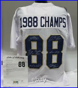 1988 NOTRE DAME 6 PLAYER AUTOGRAPHED/SIGNED CUSTOM JERSEY With 1 INSC PSA/DNA COA
