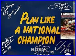1988 NOTRE DAME MULTI SIGNED NAVY PLAY LIKE A NATIONAL CHAMPION 11x14 JSA COA