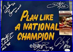 1988 NOTRE DAME MULTI SIGNED NAVY PLAY LIKE A NATIONAL CHAMPION 11x14 JSA COA