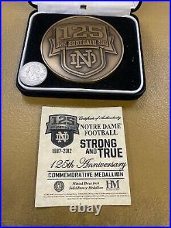 2012 Notre Dame Football 125 Year Commemorative Medallion Coa
