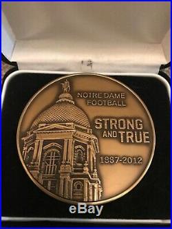 2012 Notre Dame Football 125 Years Solid Bronze Coa Commemorative Medallion