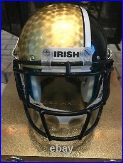 2012 Team Issued Notre Dame Football Shamrock Series Schutt Helmet Steiner Coa