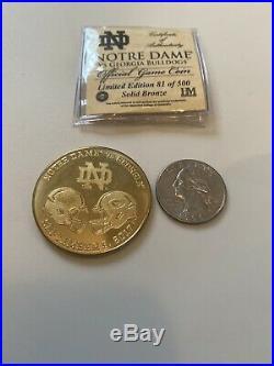 2017 Notre Dame Football Vs Georgia Football Official Game Coin Ltd Ed Coa