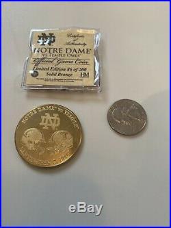 2017 Notre Dame Football Vs Temple Owls Football Official Game Coin Ltd Ed Coa