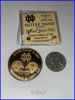 2017 Notre Dame Football Vs Usc Football Official Game Coin Ltd Ed Coa