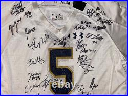 2019 Notre Dame Team Signed Football Jersey Ian Book Chase Claypool ++ Coa