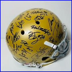 2020 Notre Dame Fighting Irish Team Signed Autograph Fs Football Helmet Coa Book