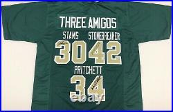 3 Amigos Signed Green Jersey Stams Stonebreaker Pritchett Notre Dame JSA COA