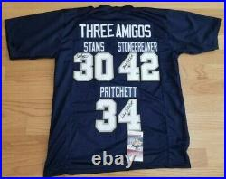 3 Amigos Signed Navy Jersey Stams Stonebreaker Pritchett Notre Dame JSA COA