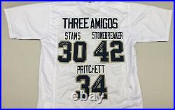 3 Amigos Signed White Jersey Stams Stonebreaker Pritchett Notre Dame JSA COA