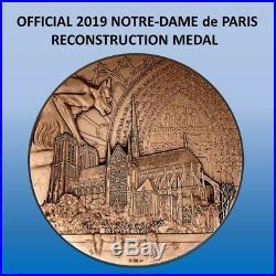 655 GRAM BRONZE 2019 NOTRE DAME de PARIS RECONSTRUCTION MEDAL 2013 Re-edition