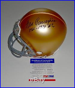 Ara Parseghian Signed 1966-1973 N. C. Notre Dame Mini Helmet Psa Coa Q60803