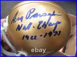 Ara Parseghian signed Notre Dame Mini Helmet JSA COA National Champs Ins