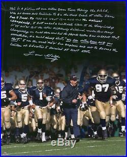 Autographed Lou Holtz Notre Dame 16x20 Photo Fanatics Authentic COA