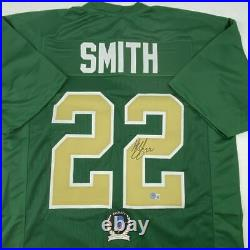 Autographed/Signed HARRISON SMITH Notre Dame Green Football Jersey Beckett COA