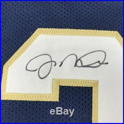 Autographed/Signed JOE MONTANA Notre Dame Blue College Football Jersey JSA COA