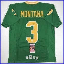 Autographed/Signed JOE MONTANA Notre Dame Green College Football Jersey JSA COA