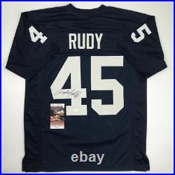 Autographed/Signed RUDY RUETTIGER Notre Dame Irish Blue Rudy Jersey JSA COA