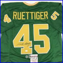Autographed/Signed RUDY RUETTIGER Notre Dame Irish Green Football Jersey JSA COA