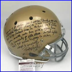 Autographed/Signed RUDY RUETTIGER Speech Notre Dame Full Size FS Helmet JSA COA