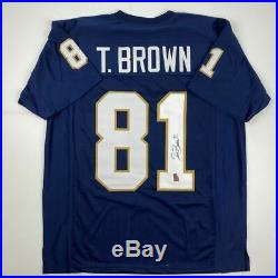 Autographed/Signed TIM BROWN Notre Dame Blue College Football Jersey GTSM COA