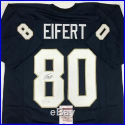Autographed/Signed TYLER EIFERT Notre Dame Blue College Football Jersey JSA COA