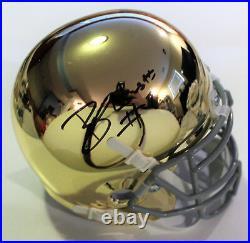 Brandon Wimbush Signed Notre Dame Mini Football Helmet withCOA Gold Chrome C