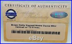 Brian Kelly Signed Notre Dame Mini Helmet 12-0 Inscription Irish Steiner COA