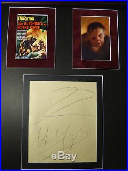 CHARLES LAUGHTON HUNCHBACK OF NOTRE DAME LARGE SIGNED DOODLE DISPLAY WithCOA