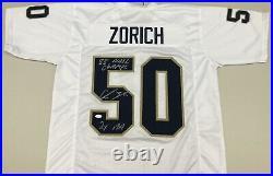 CHRIS ZORICH Signed Notre Dame White Jersey 88 National Champions 2X AA JSA COA