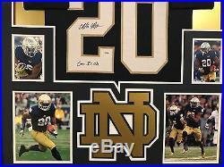 CJ Prosise Autographed Custom Framed Notre Dame Fighting Irish Jersey 2 PSA COA