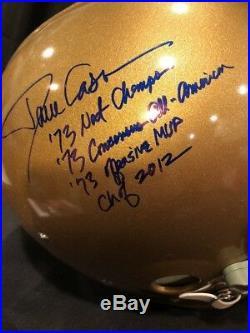 Dave Casper signed T/B Notre Dame Irish Custom F/S TK Helmet 4 Inscriptions COA
