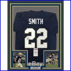 FRAMED Autographed/Signed HARRISON SMITH 33x42 Notre Dame Blue Jersey JSA COA