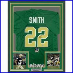 FRAMED Autographed/Signed HARRISON SMITH 33x42 Notre Dame Green Jersey BAS COA