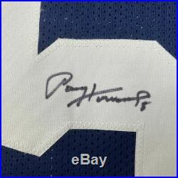 FRAMED Autographed/Signed PAUL HORNUNG 33x42 Notre Dame Blue Jersey JSA COA Auto
