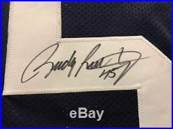 FRAMED Autographed/Signed RUDY RUETTIGER 33x42 Notre Dame Blue Jersey JSA COA