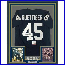 FRAMED Autographed/Signed RUDY RUETTIGER 33x42 Notre Dame Blue Jersey PSA COA