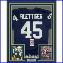 FRAMED Autographed/Signed RUDY RUETTIGER 33x42 Play Notre Dame Jersey JSA COA