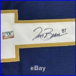 FRAMED Autographed/Signed TIM BROWN 33x42 Notre Dame Blue Jersey GTSM COA Auto