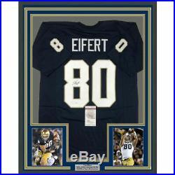 FRAMED Autographed/Signed TYLER EIFERT 33x42 Notre Dame Blue Jersey JSA COA Auto