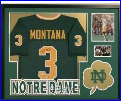 Framed Joe Montana Autographed Signed Notre Dame Jersey Psa Coa