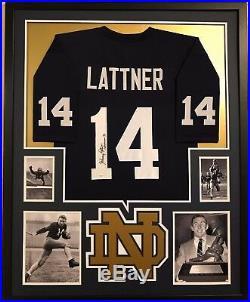Framed Johnny Lattner Autographed Signed Inscribed Notre Dame Jersey Jsa Coa