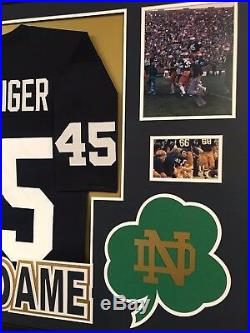 Framed Rudy Ruettiger Autographed Signed Notre Dame Jersey Jsa Coa