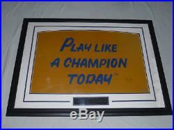 Framed Signed Play Like A Champion Today Lou Holtz Sign Notre Dame Coa Vintage