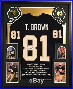 Framed Tim Brown Autographed Signed Notre Dame Stat Jersey Jsa Coa