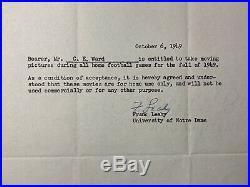Frank Leahy Notre Dame 1949 Autographed Letter On Official ND Letterhead PSA COA