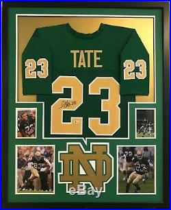 Golden Tate Autographed Custom Framed Notre Dame Green Jersey Beckett COA